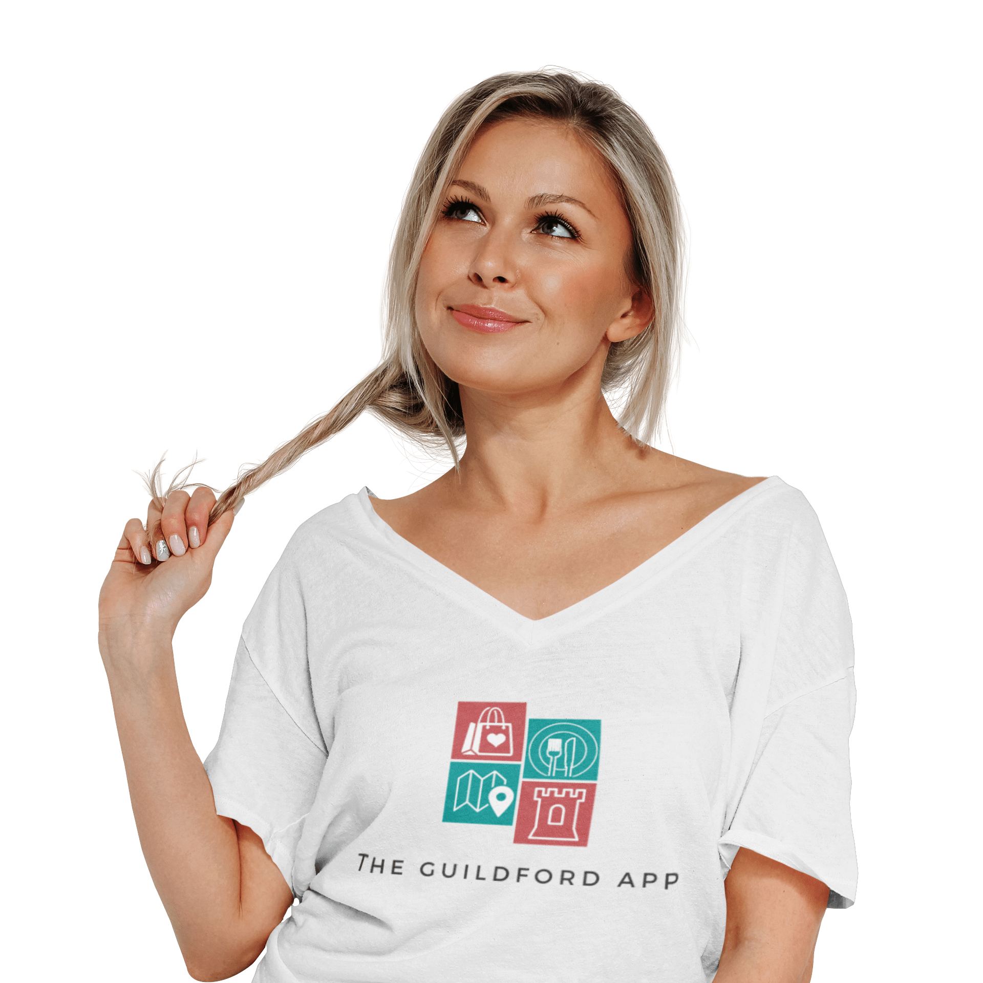 Woman Wearing The Guildford App T Shirt Transparent Background